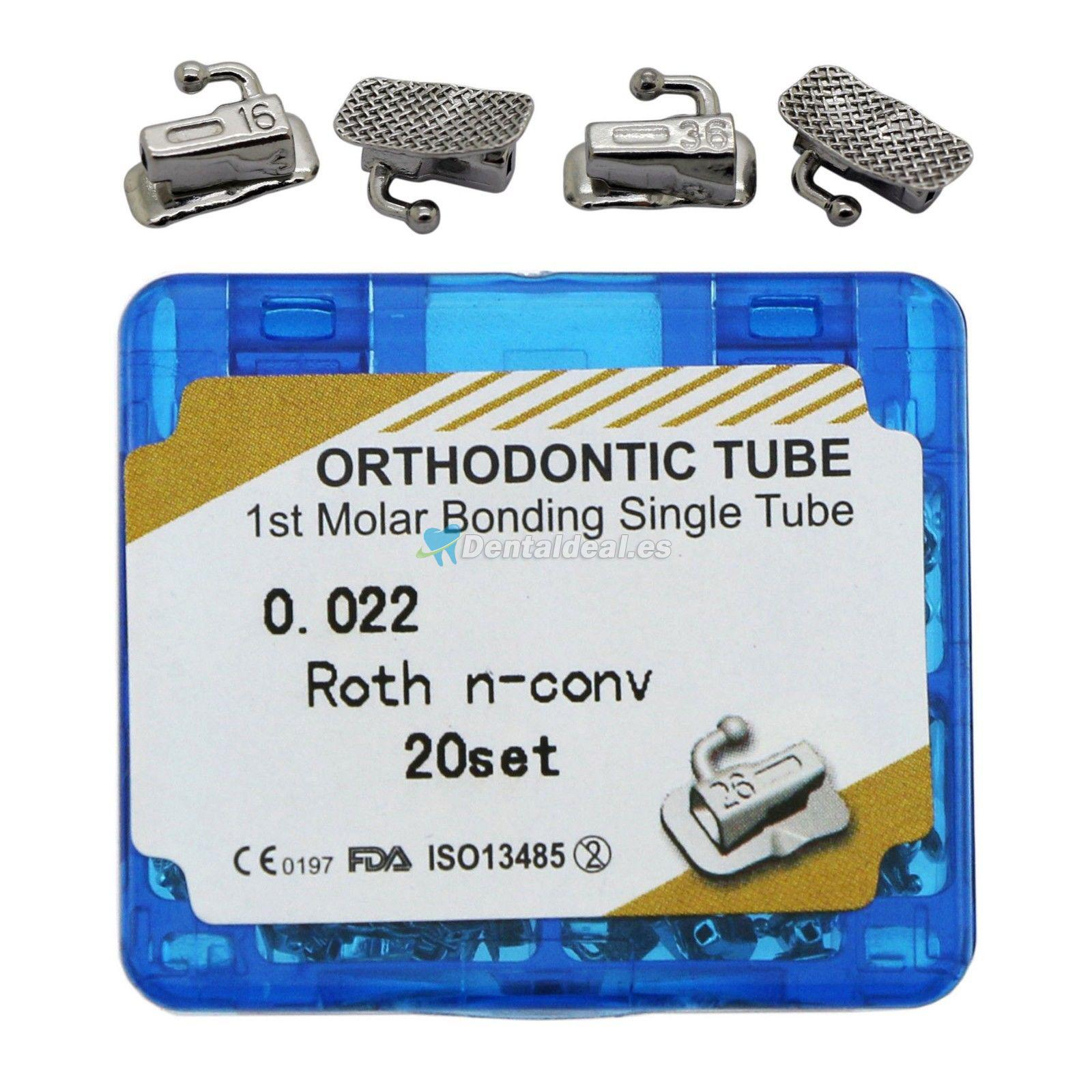 20 Sets Dental Ortodontic Bonding Solo Buccal Tubo 1ra Molar Roth 022 Slot
