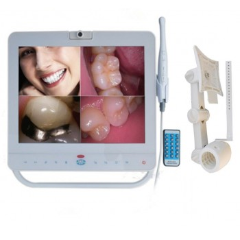 Monitor Dental con Cable de 15 Pulgadas Sistema de Cámara Intraoral VGA+VIDEO Puerto con Soporte LCD MD1500