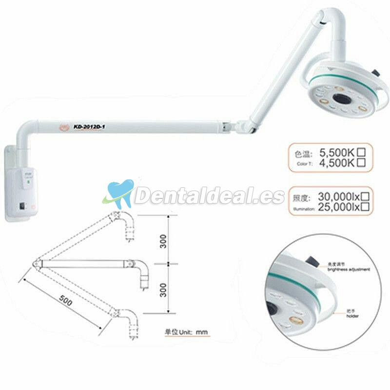 KWS 36W Lámpara quirúrgica dental LED de pared Lámpara sin sombra KD-202D-3B