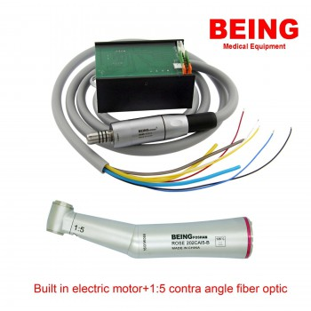 BEING Dental Motor eléctrico incorporado LED + 1: 5 fibra óptica contra ángulo