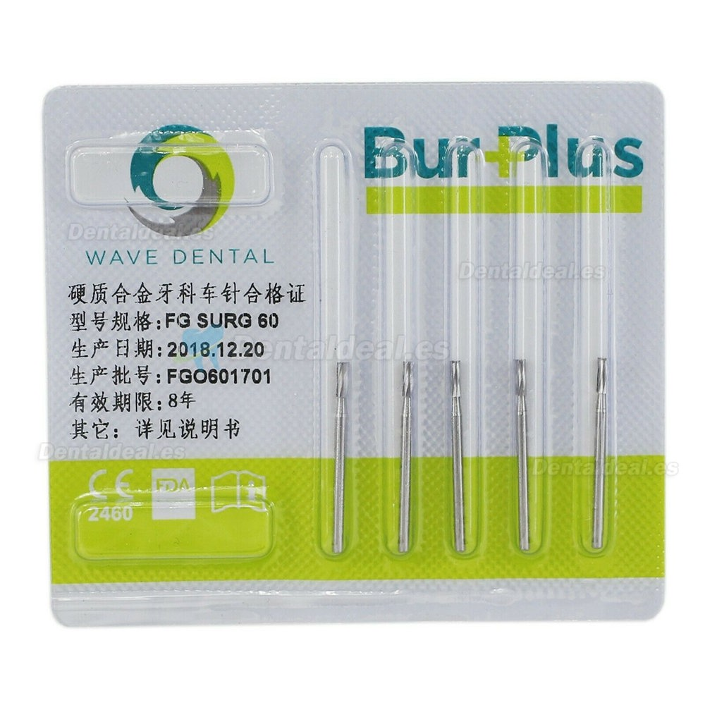 10Pcs FG Surgical Length 60 Burs Dental Friction Grip Straight Fissure Head (cylindrical) Carbide Bur