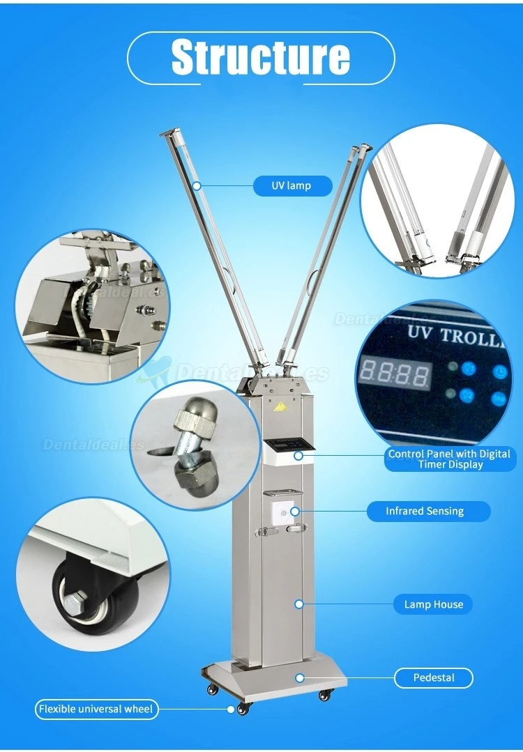 FY 120W-220W Portable UV+Ozone Disinfection Lamp Stainless Steel Trolley With Infrared Sensor