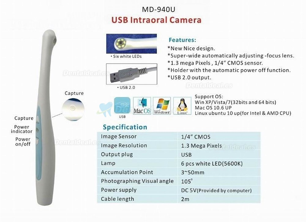 Magenta MD940U USB Cámara Intraoral Dental Odontologicas